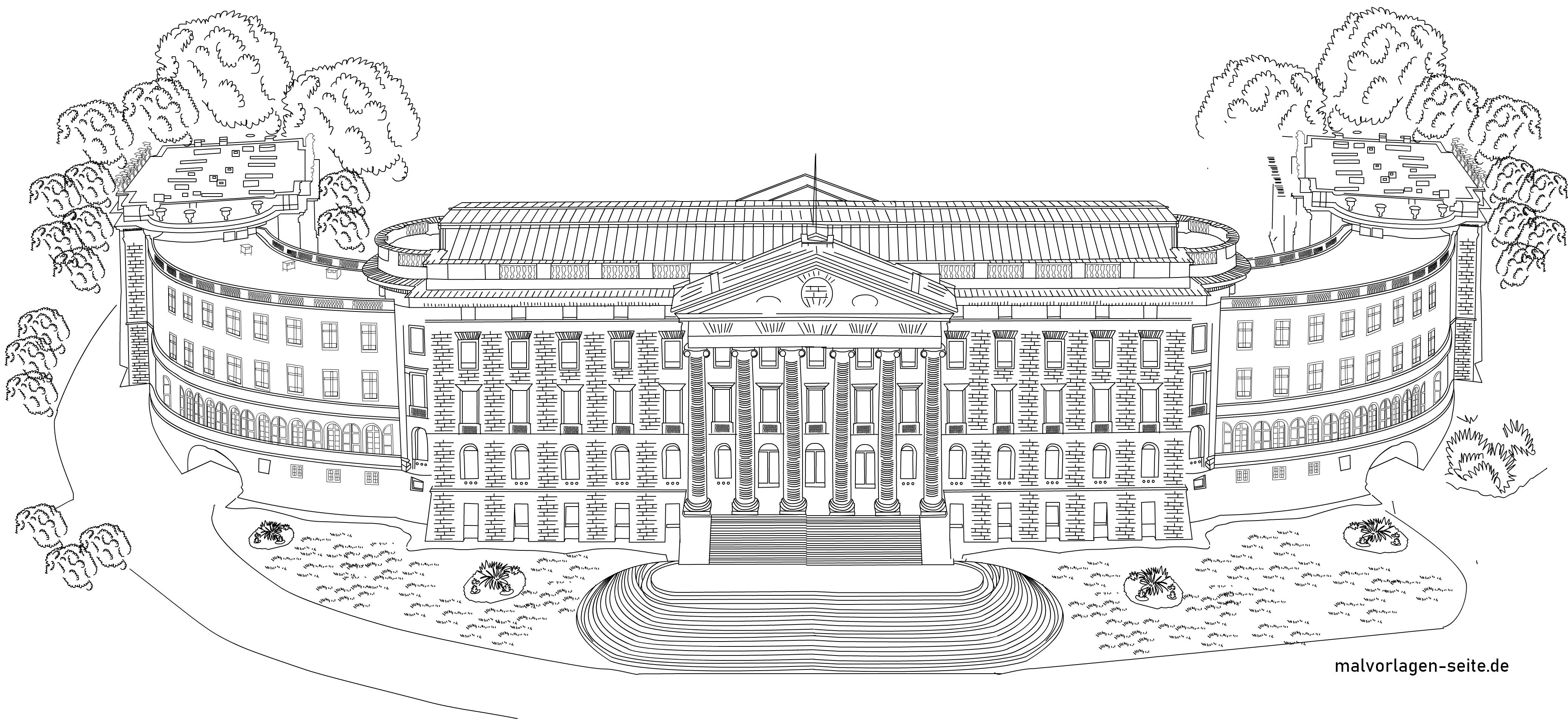 Malvorlage Schloss Wilhelmshöhe in Kassel zum Ausmalen