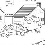 Coloring page car with caravan camping