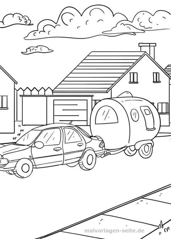 Malvorlage / Ausmalbild Auto mit Wohnwagen