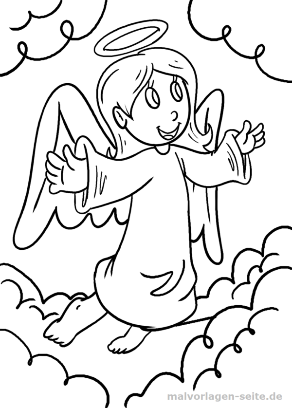 Malvorlage / Ausmalbild Engel