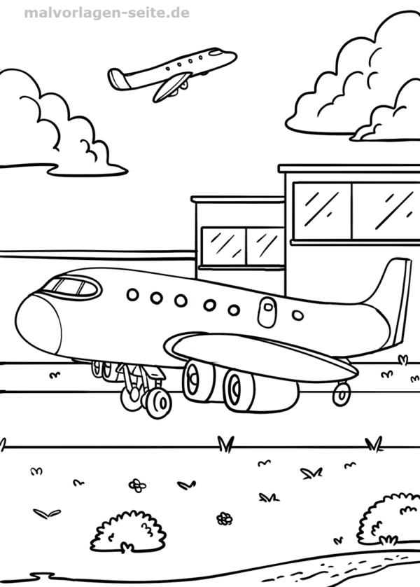 Malvorlage / Ausmalbild Flughafen