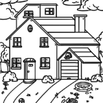 Coloring page house with garden | building