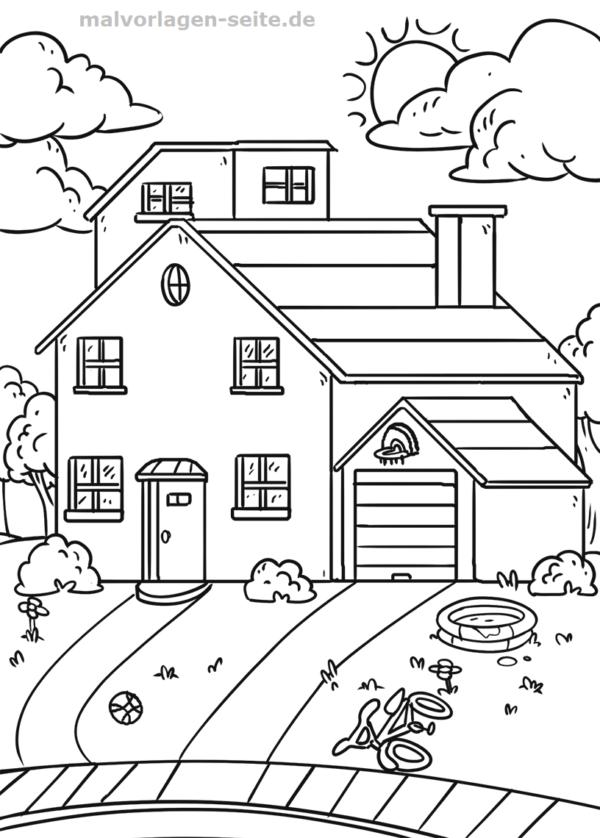 Página para colorear casa con jardín | Páginas para colorear gratis ...
