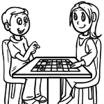 Coloring page boy & girl playing
