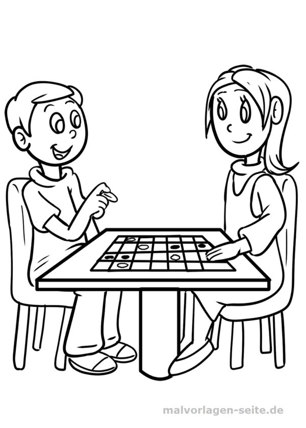 Coloring page kids board game