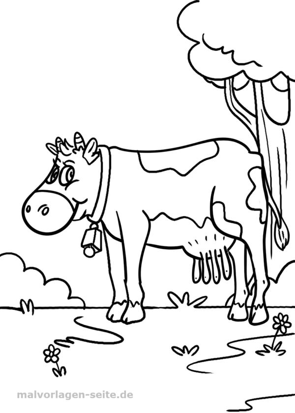 Malvorlage / Ausmalbild Kuh