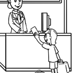 Coloring page school teacher