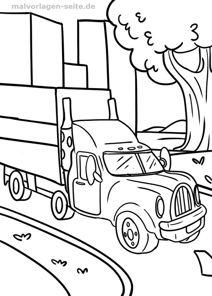 malvorlage lkw   fahrzeuge - kostenlose ausmalbilder