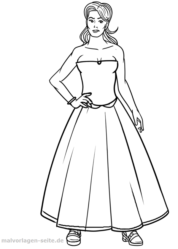 Coloring page / coloring page Model in evening dress