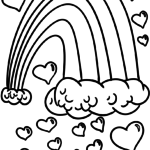 Coloring page rainbow hearts