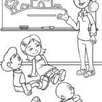 Page coloring page school. Educational picture school