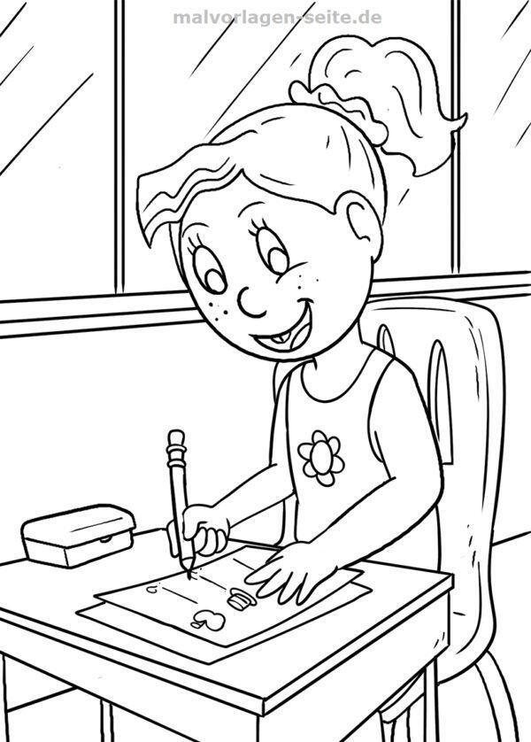 Malvorlage Schule - Schülerin | Gratis Malvorlagen zum Download