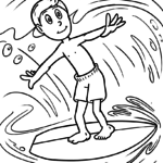 Coloring page surfing | Sports