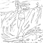 Coloring page Surfing on Wave