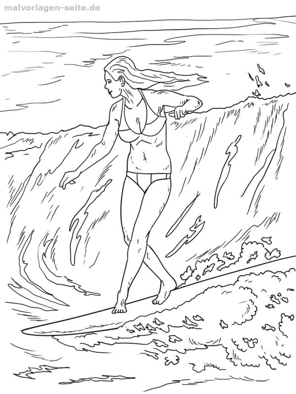 Malvorlage / Ausmalbild Surfen Welle