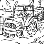 Coloring page tractor | Vehicles farm
