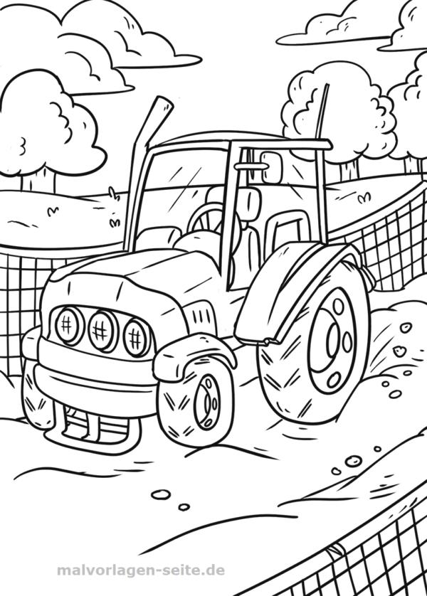 kleurplaat boerderij tractor  kleurplaat trekker met