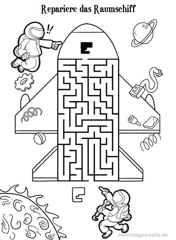 Labyrinth / Irrgarten Raumschiff und Astronauten