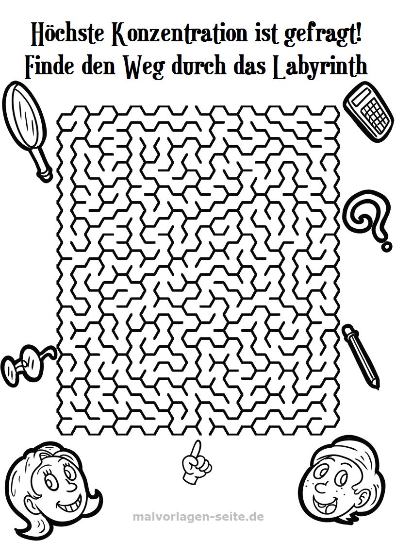 Labyrinth Irrgarten für Kinder   Gratis Malvorlagen zum Download