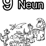 Coloring page numbers digits - 9