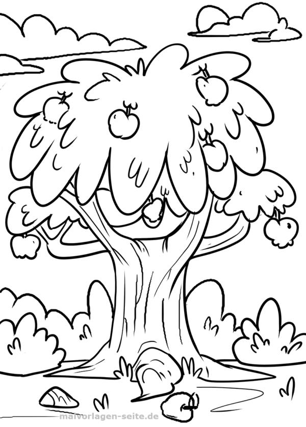Väritys sivu omenapuu