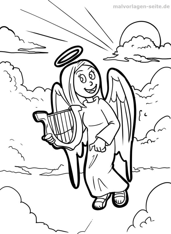 Malvorlage / Ausmalbild Engel mit Harfe