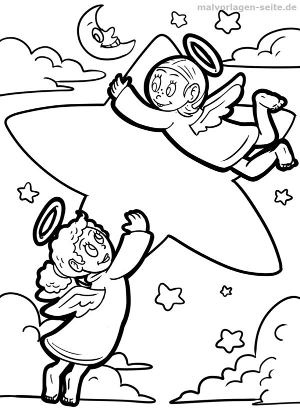 Malvorlage / Ausmalbild Engel mit Stern