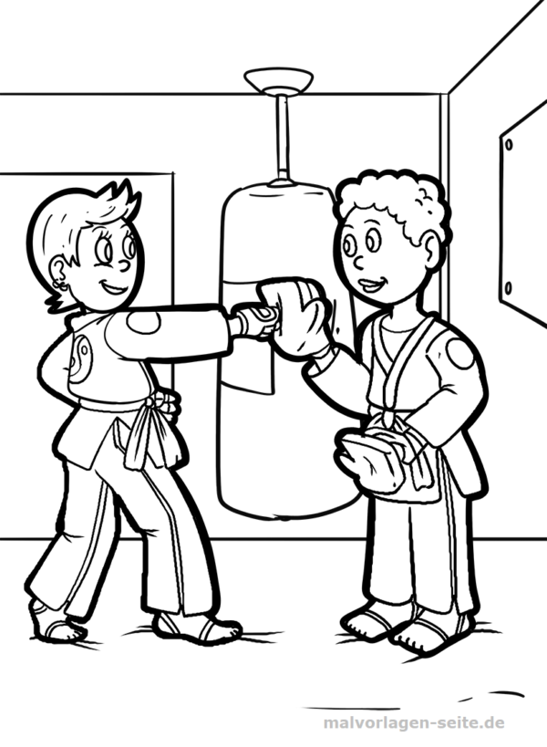 Dibujo para colorear karate | Páginas para colorear gratis para ...
