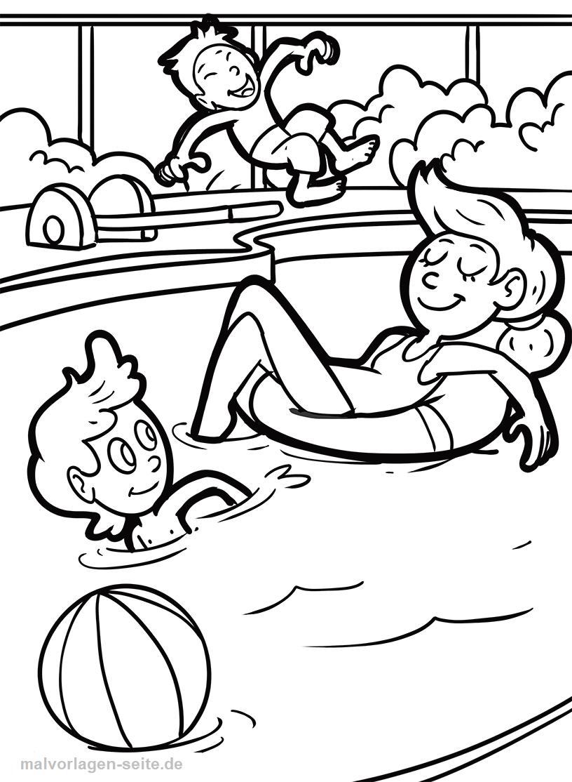 Malvorlage Swimmingpool Kinder Urlaub