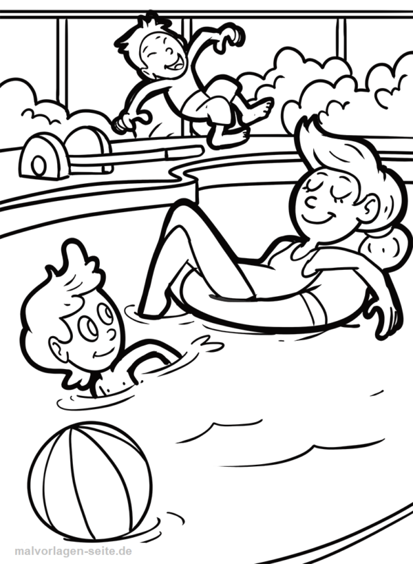 Coloring page swimming pool children