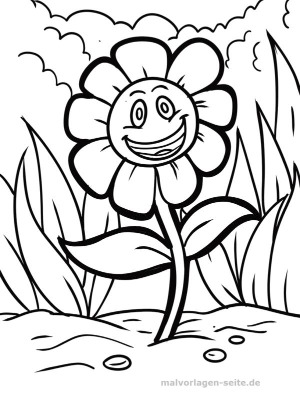 Malvorlage / Ausmalbild lachende Blume
