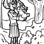 Coloring page girl with bunny