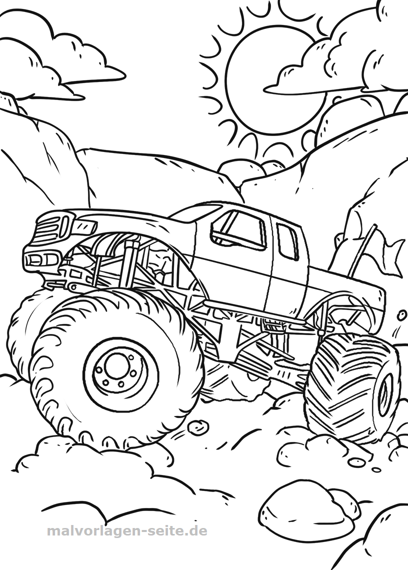 Malvorlage Monster Truck | Gratis Malvorlagen zum Download