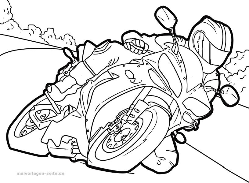 Malvorlage Motorrad | Gratis Malvorlagen zum Download