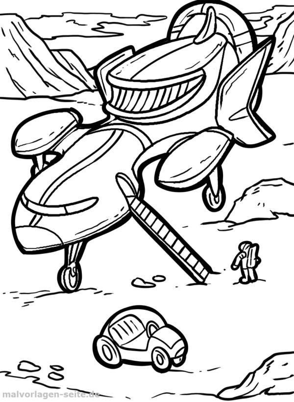 Malvorlage / Ausmalbild Raumschiff