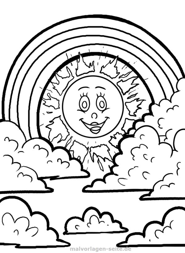 Boyama Sayfası Gökkuşağı Ve Güneş Indirmek Için ücretsiz Boyama