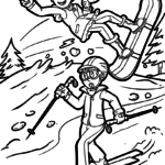 Malvorlage Ski fahren - Snownboard | Sport