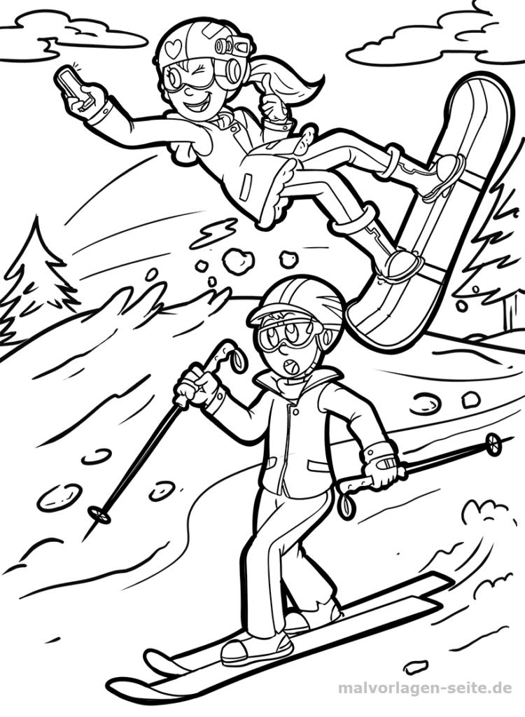 malvorlage ski fahren  snownboard  sport  kostenlose