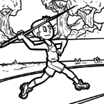 Coloring page javelin | Athletics Sports