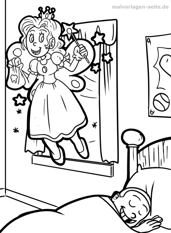 Coloring page tooth fairy