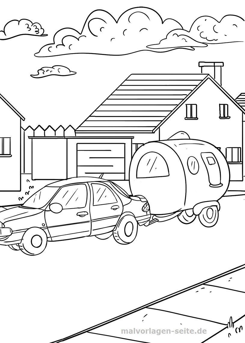 Gratis Ausmalbilder Autos : Malvorlage Auto Mit Wohnwagen Gratis Malvorlagen Zum Download
