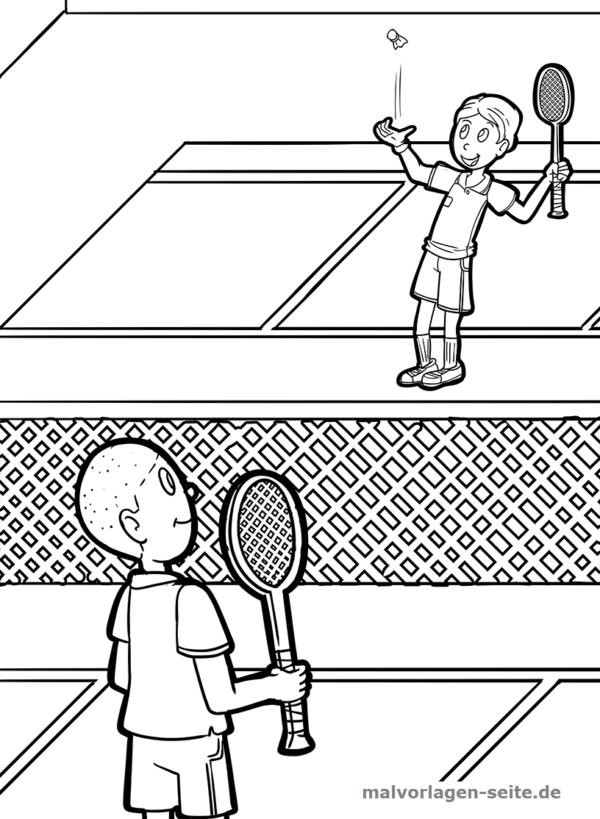 Malvorlage / Badminton Federball
