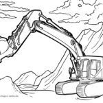 Coloring page excavator