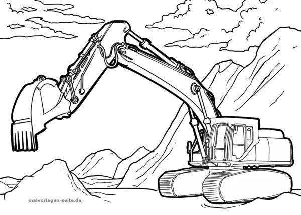 Coloring Page Excavator Vehicles Free Coloring Pages