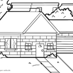Coloring page log cabin | building