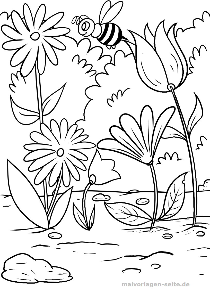 Malvorlage Blumen und Biene | Gratis Malvorlagen zum Download