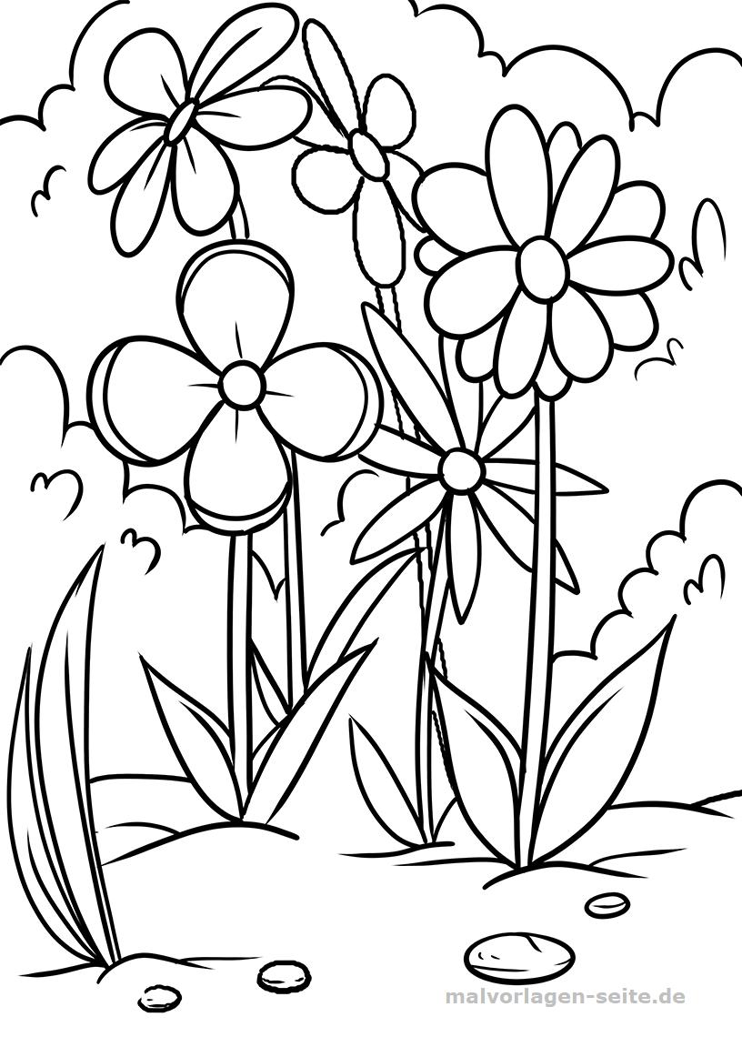 Malvorlage Blumenwiese  Pflanzen - Kostenlose Ausmalbilder