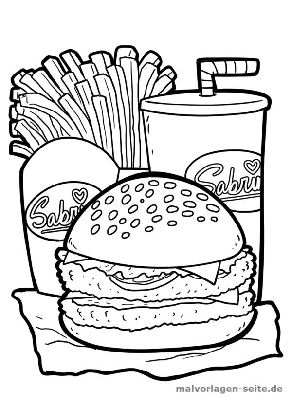 Malvorlage / Ausmalbild Burger mit Pommes