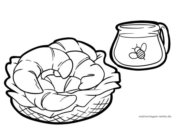Malvorlage / Ausmalbild Croissant mit Honig