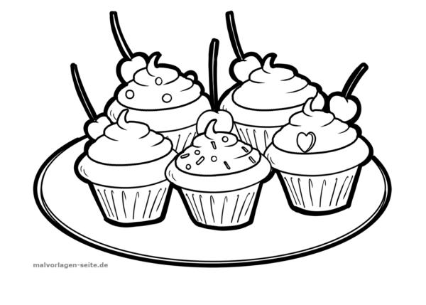 Malvorlage / Ausmalbild Cupcakes